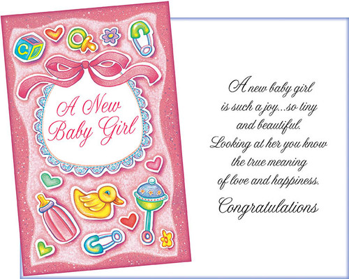 96265 six new baby girl greeting cards with six envelopes
