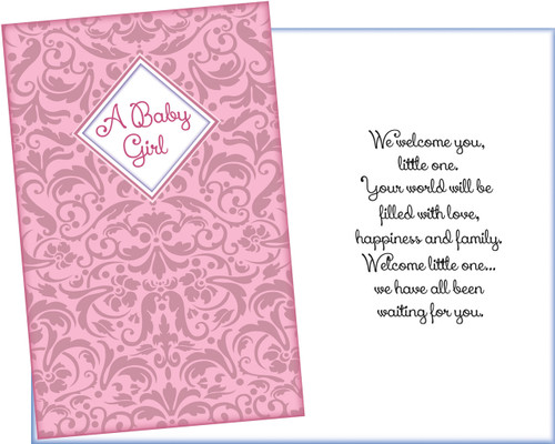 96269 Six New Baby Girl Greeting Cards With Six Envelopes