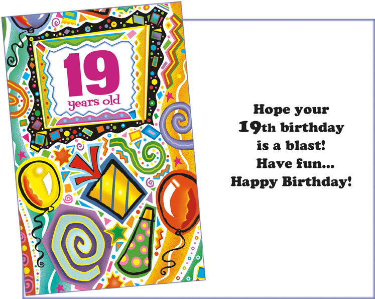 89695 Six Age 19 Birthday Greeting Cards With Envelopes