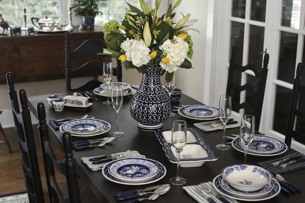 Blue Garden 16 Piece Hand-Painted Dinnerware Set