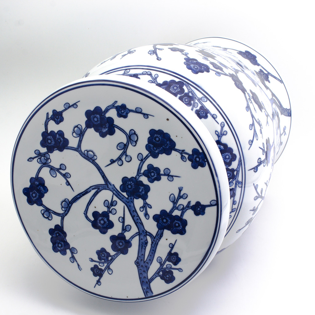 Blue Garden White Cherry Blossom Podium Stool