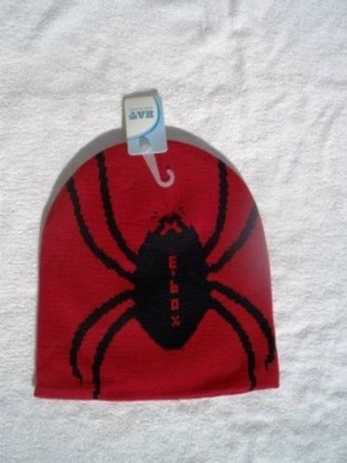 Red w/ Black Spider Knit Winter Warm Beanie Ski Hat