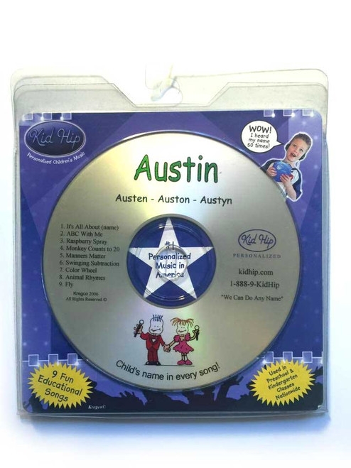 KID HIP Personalized Name (Austin) CD- Hear Your Child's Name 50x In The Music