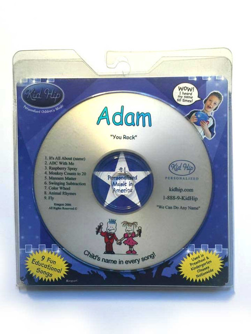KID HIP Personalized Name (Adam) CD- Hear Your Child's Name 50x In The Music