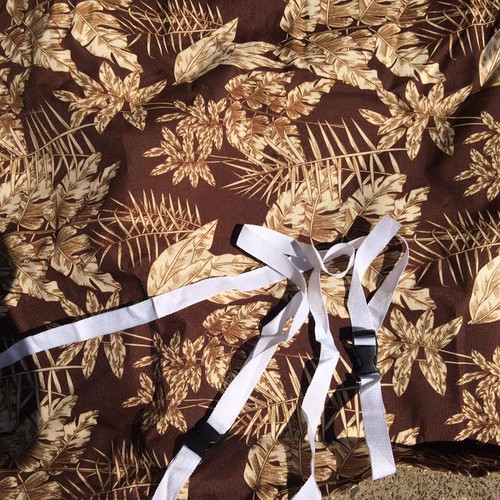 "Premium Waterproof Brown LeafPrint Barbecue BBQ cover w/straps-FitsUp to 48"" Wide"