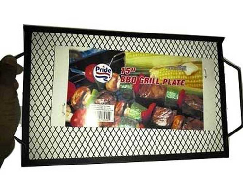 """15"""" inch Barbecue BBQ Grill Plate - Grill Burgers and Hot Dogs Easily on Your Camp Fire"""