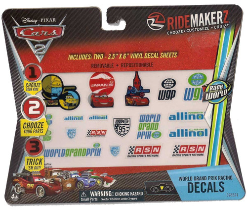 2x Cars 2 World Grand Prix Racing Decals