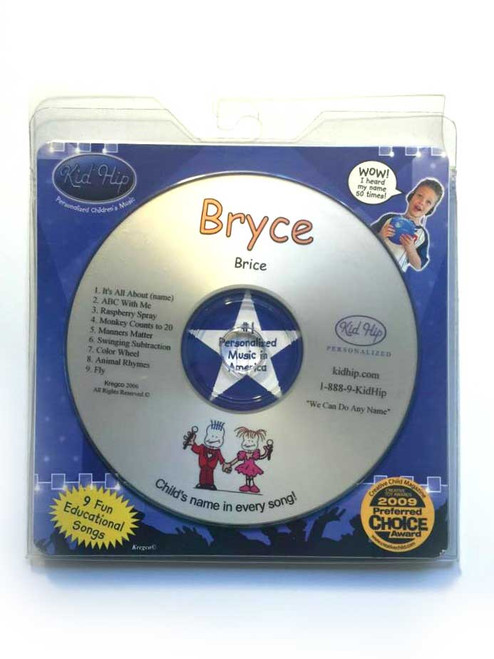 KID HIP Personalized Name (Bryce) CD- Hear Your Child's Name 50x In The Music