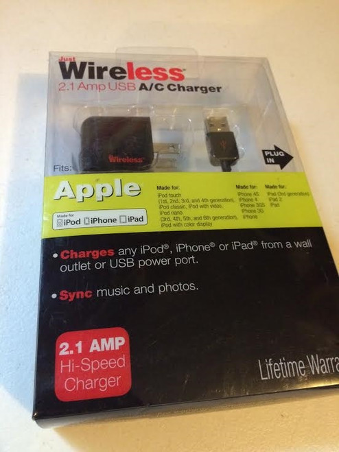Just Wireless 2.1AMP USB A/C Charger 30 PIN CONNECTOR iPhone 4 /4s/1g/3g/3gs