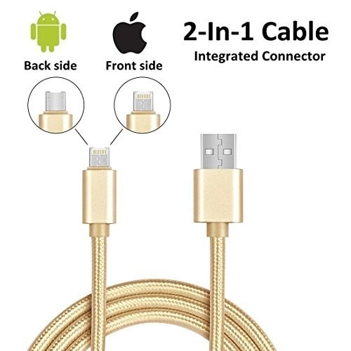 6ft 2in1 Gold Braided Heavy Duty iphone Apple iOS MFI Certified /Android USB Cable for:  iphone 5, 5s,5c,6,6Plus,6s, 6s Plus, 6se,7,7 plus, 8, 8plus, X,ipad w/retina display, ipad Micro / Android Micro-usb / Samsun