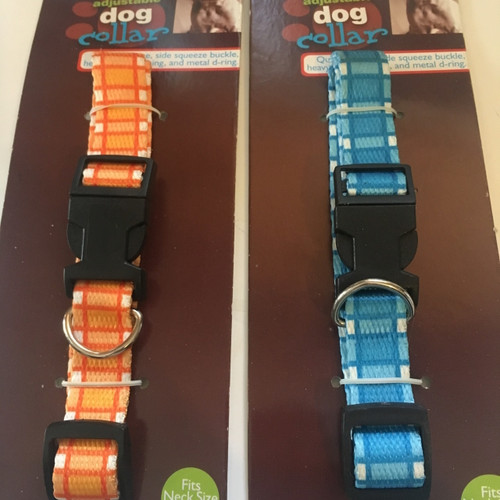 ( Choose Color ) Adjustable Dog Collar   Fits Neck  Size 9' -17""