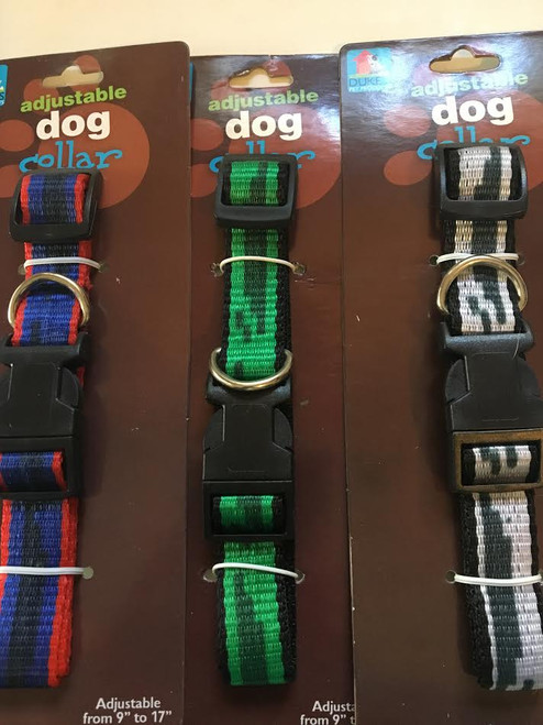 (Choose Color) Adjustable Dog Collar Stripe Design Fits Neck Size 9' - 17""