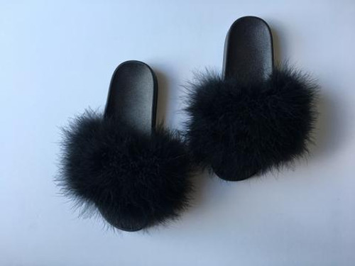Genuine Handmade by Alyssa®, Ultra Chic Customized Black Fur Slides, Black Fur Sandals