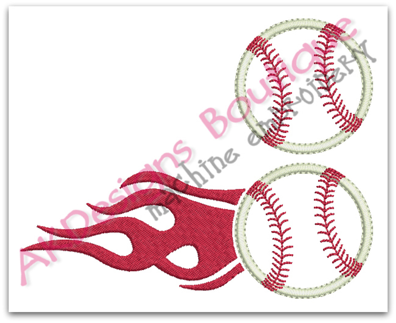 Applique Baseball Or Softball With Flames Machine Embroidery Designs