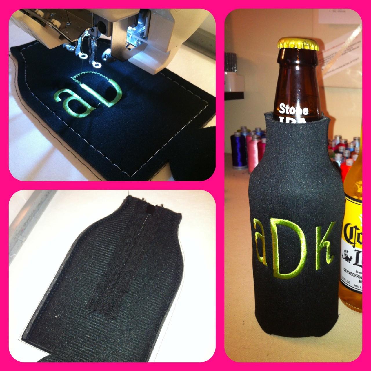 Zippered Beer Bottle Koozie In the Hoop Template Embroidery Design