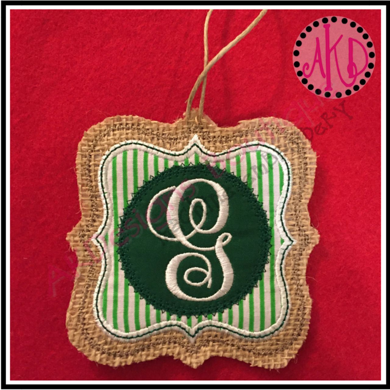 in the hoop christmas ornament fancy double frame machine embroidery design no 1703 - Embroidered Christmas Ornaments