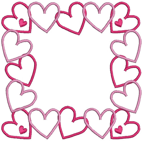 Heart Font Frames Machine Embroidery Designs