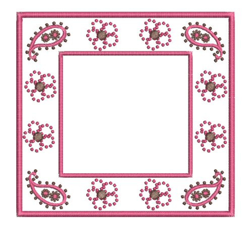 Paisley And Flower Font Frame Machine Embroidery Designs