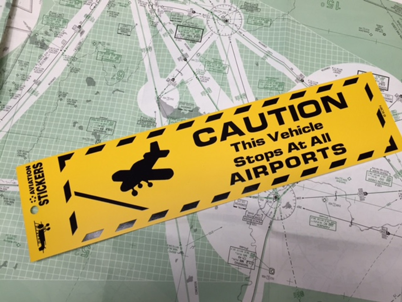 Caution this Vehicle Stops at all Airports Sticker