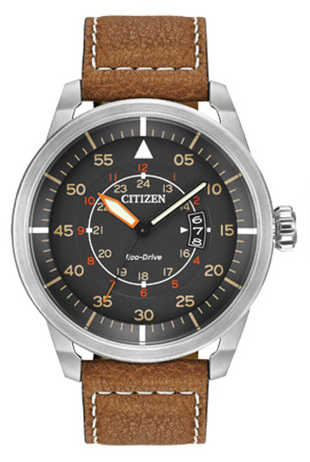 Citizen Avion Brown Leather Eco-Drive Pilot Watch