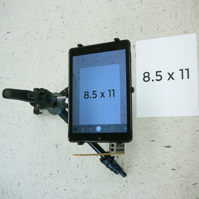 "As an example, shown on a Manfrotto 785B tripod with PED-IPA10 (or PED4-IPA10-PLANET) Elevation is 14"" above 8.5""x11"" paper in this setup"