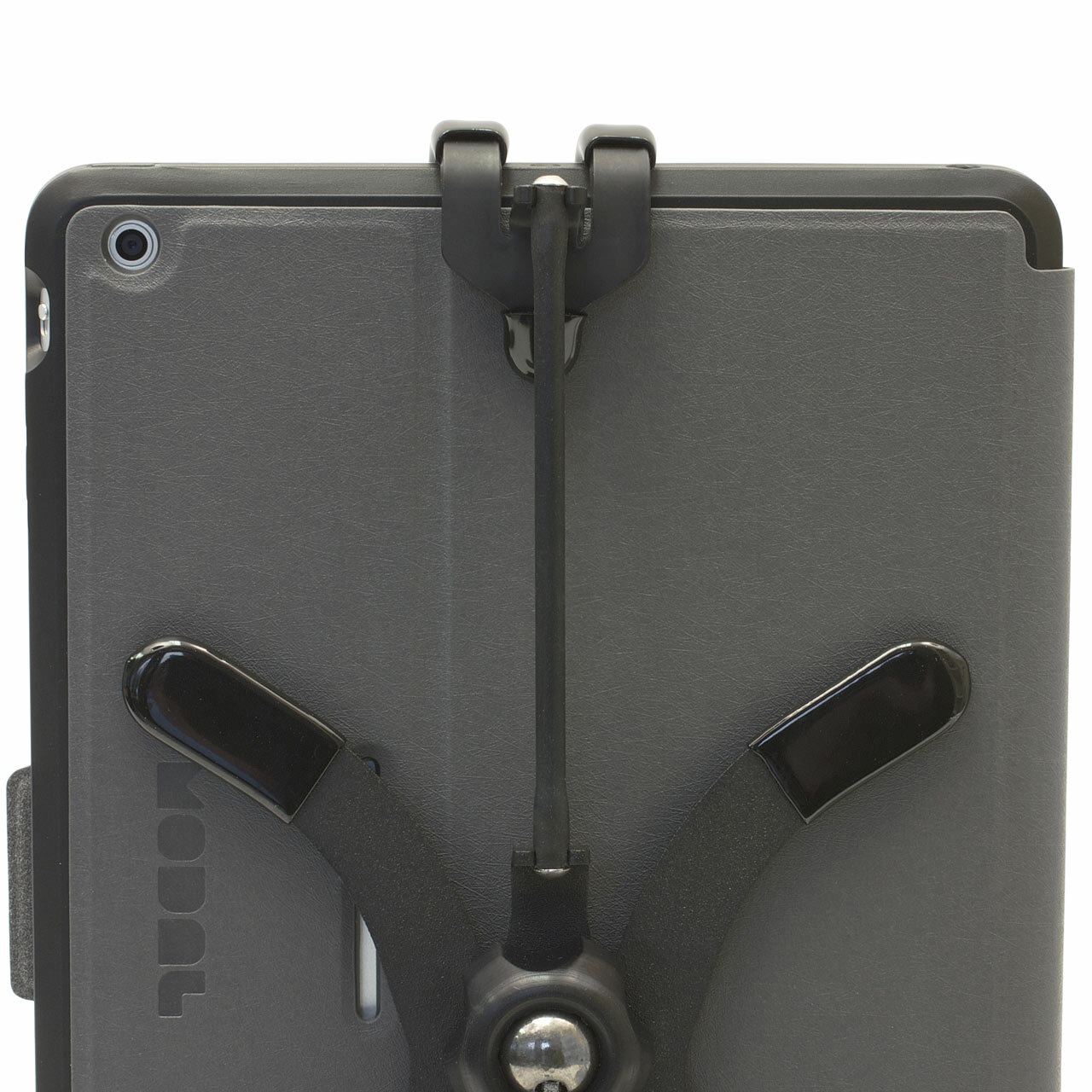 Flexible Pivoting iPad Stand (iPad with Case) with included Grapple S4 Strap
