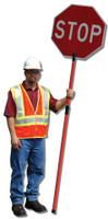 Replacement Traffic Paddle  Telescopic Fiberglass Pole Set (2)