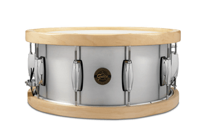Gretsch's 6.5x14 Aluminum Snare Drum with Wood Hoops begins with our 1.2mm seamless aluminum shell. This shell creates a drier tone due to the inherent qualities of aluminum along with a focused attack with minimal overtones. Add the 13-ply Rock Maple hoops and you get extra warmth added to the attack along with a massive cross stick sound. The wood hoops are also low profile to enhance playing comfort and feature beveled edges to provide a unique look. Sonically, these hoops produce an earthy, warm timbre with explosive cross-stick clicks – truly a unique addition to any snare collection.  • 1.2 mm Seamless Aluminum  • 30 Degree Bearing Edge  • 4 mm Die Cast Hoops  • 10 Lugs  • Drum heads by Remo