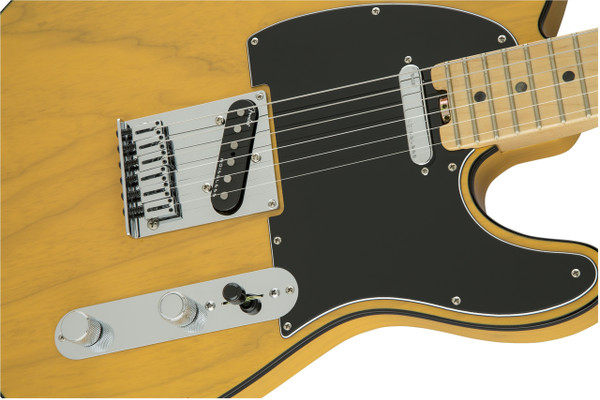 FenderAmerican Elite Telecaster Single Cutaway SS Electric Guitar in Butterscotch Blonde Finish with Ash Body and Maple Fingerboard