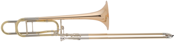 Classic trombone design revisited and updated.         Key: Bb / F     Bore: .547-inch     Leadpipe: Fixed     Leadpipe Material: Yellow Brass     Bell: 8.5-inch or 9-inch     Bell Material: Rose Brass, Yellow Brass, Sterling Silver     Handslide: Standard Weight     Handslide Material: Rose Brass     Handslide Crook Material: Nickel Silver     F Attachment Wrap: Open     F Attachment Valve: Standard Rotor     Features: .562-inch Bore F Attachment; Adjustable Thumb Lever     Case: Yes     Mouthpiece: Conn 5G     Mouthpiece Shank: Large     Finish: Lacquer