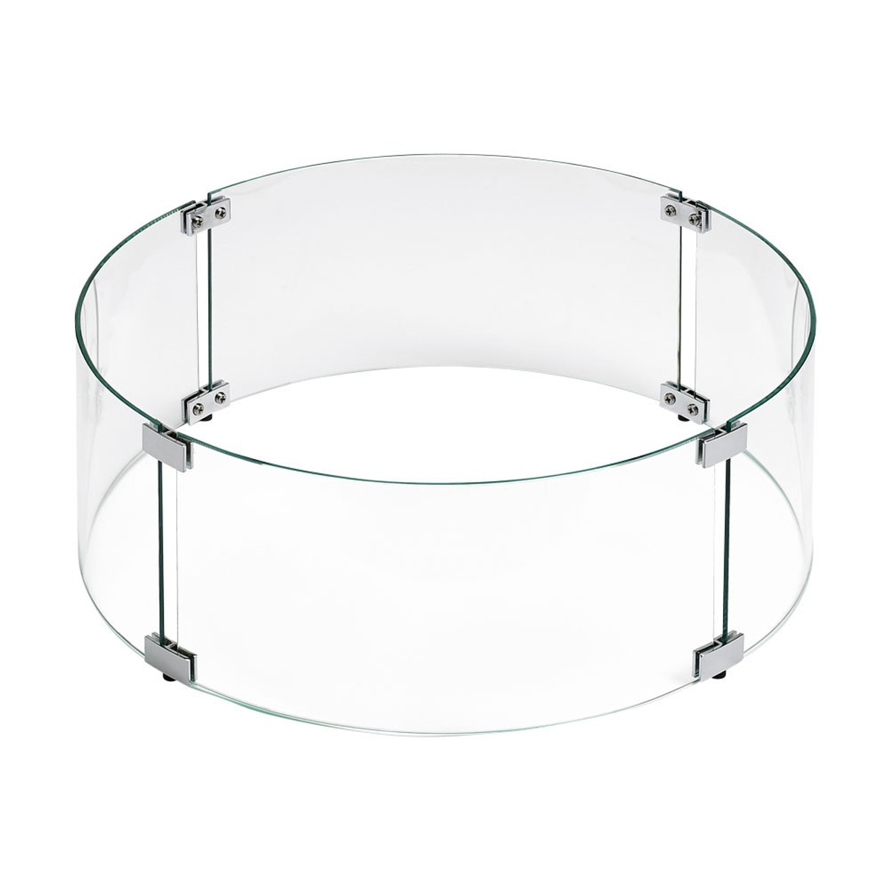 Round Glass Flame Guard for Drop-In Fire Pit Pan - Round Glass Flame Guard For Drop-In Fire Pit Pan - Flame Guards