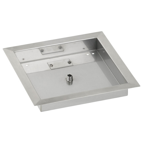 "12"" Square Stainless Steel Drop-In Fire Pit Pan (1/2"" Nipple)"