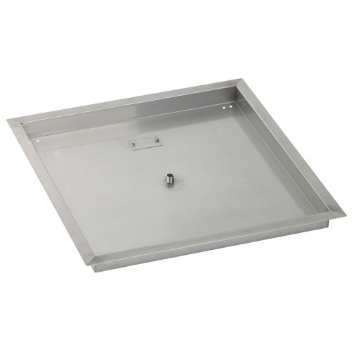 """24"""" Square Stainless Steel Drop-In Fire Pit Pan (1/2"""" Nipple)"""