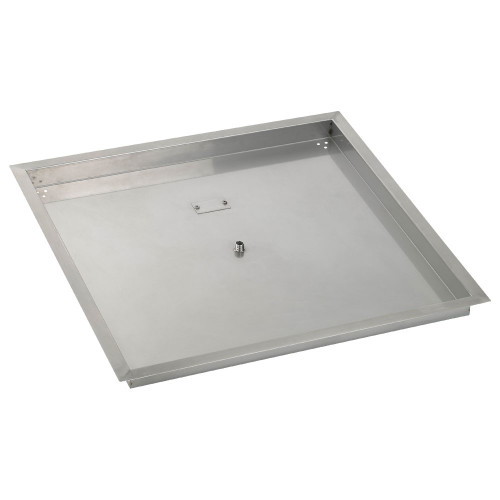 """30"""" Square Stainless Steel Drop-In Fire Pit Pan (1/2"""" Nipple)"""