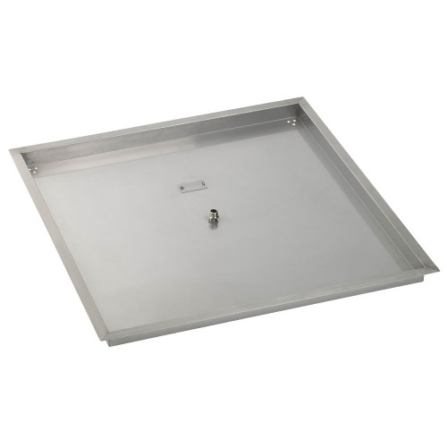 """36"""" Square Stainless Steel Drop-In Fire Pit Pan (1/2"""" Nipple)"""