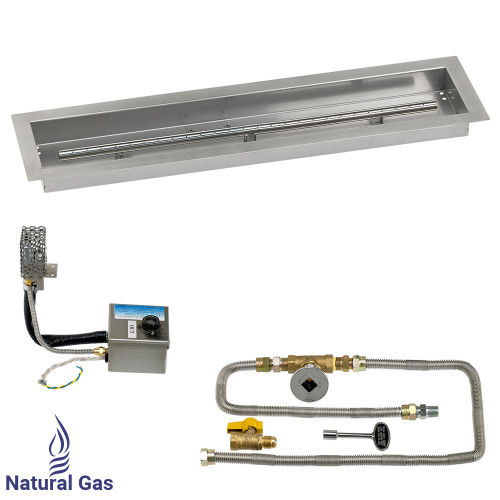 "30"" x 6"" Stainless Steel Linear Channel Drop-In Pan with AWEIS System - Natural Gas"