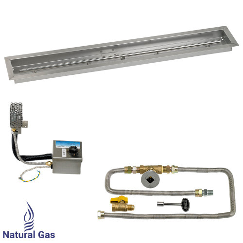 "48"" x 6"" Stainless Steel Linear Channel Drop-In Pan with AWEIS System - Natural Gas"