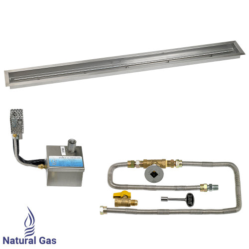 "72"" x 6"" Stainless Steel Linear Channel Drop-In Pan with AWEIS System - Natural Gas"
