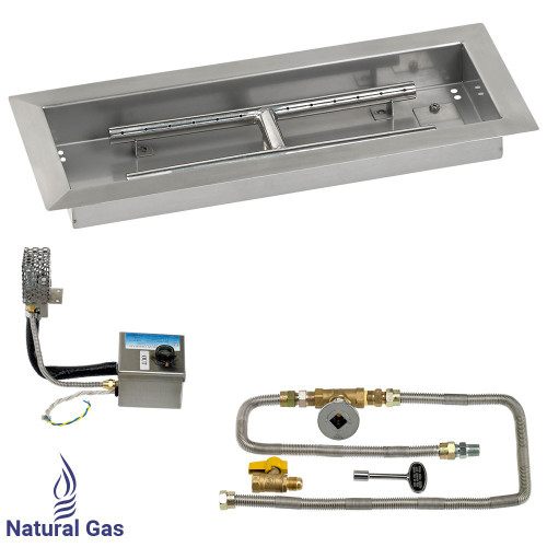 "18"" x 6"" Rectangular Stainless Steel Drop-In Pan with AWEIS System - Natural Gas"