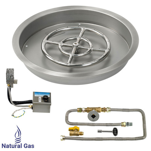 """19"""" Round Drop-In Pan with AWEIS System (12"""" Fire Pit Ring) - Natural Gas"""