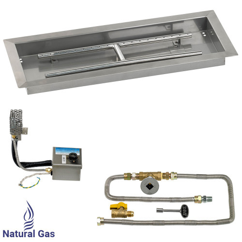 "24"" x 8"" Rectangular Stainless Steel Drop-In Pan with AWEIS System - Natural Gas"