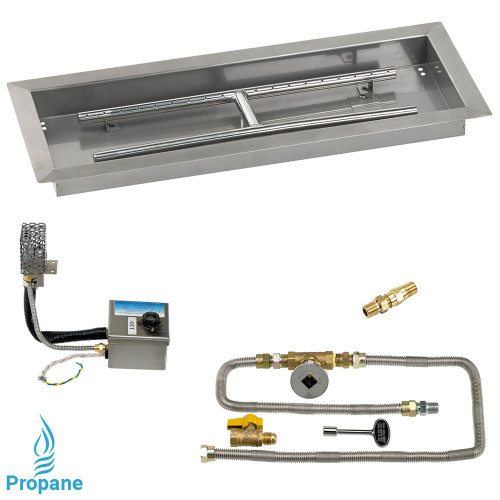 "24"" x 8"" Rectangular Stainless Steel Drop-In Pan with AWEIS System - Whole House Propane"