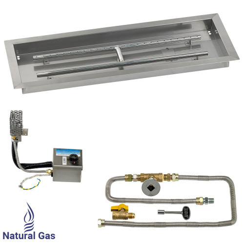 "30"" x 10"" Rectangular Stainless Steel Drop-In Pan with AWEIS System - Natural Gas"