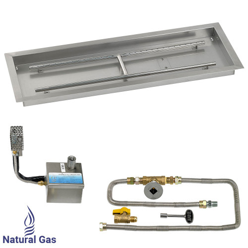 "36"" x 12"" Rectangular Stainless Steel Drop-In Pan with AWEIS System - Natural Gas"