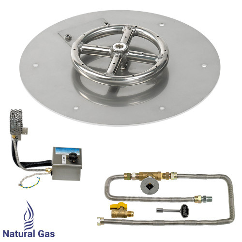 "12"" Round Stainless Steel Flat Pan with AWEIS System (6"" Ring) - Natural Gas"