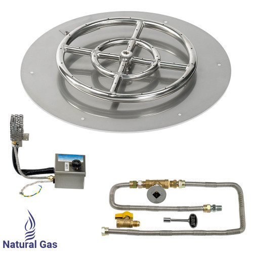 """18"""" Round Stainless Steel Flat Pan with AWEIS System (12"""" Ring) - Natural Gas"""
