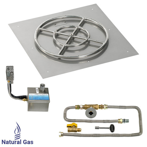 """24"""" Square Stainless Steel Flat Pan with AWEIS System (18"""" Ring)"""