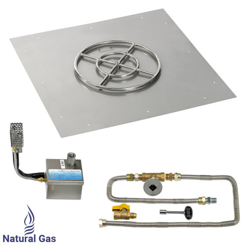 """36"""" Square Stainless Steel Flat Pan with AWEIS System (18"""" Ring)"""