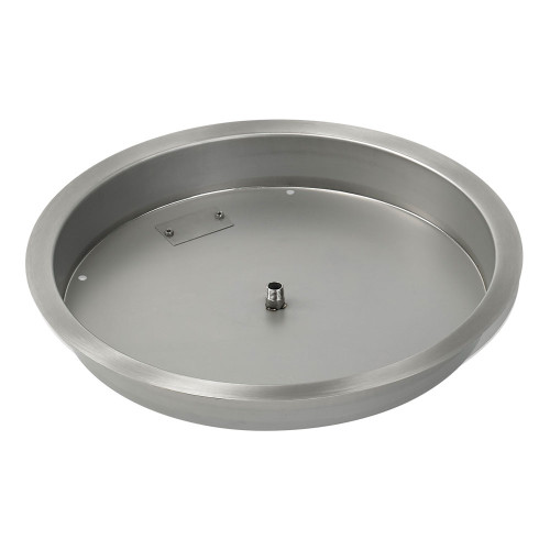 "19"" Round Stainless Steel Drop-In Fire Pit Pan (1/2"" Nipple) side"