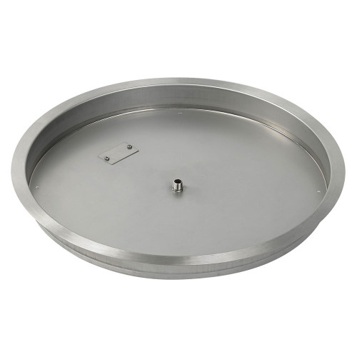 "25"" Round Stainless Steel Drop-In Fire Pit Pan (1/2"" Nipple) side"